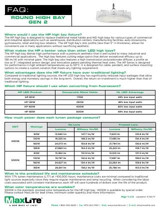 HP Series High Bay FAQs