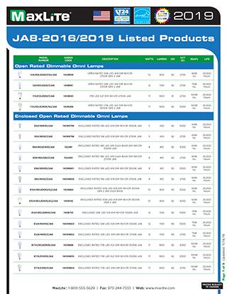 2019 JA8 MaxLite Products