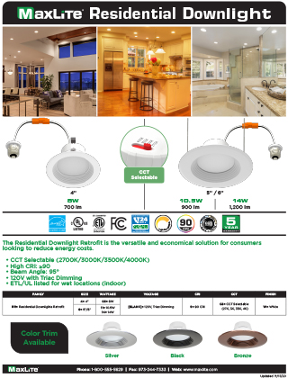 Residential Downlight - CCT Selectable