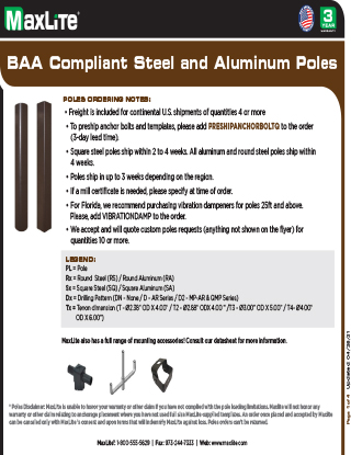 Steel and Aluminum Pole Offering